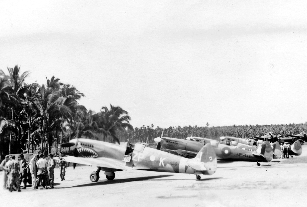 Lineup of No. 457 Sqn aircraft. A58-642 is second from left.