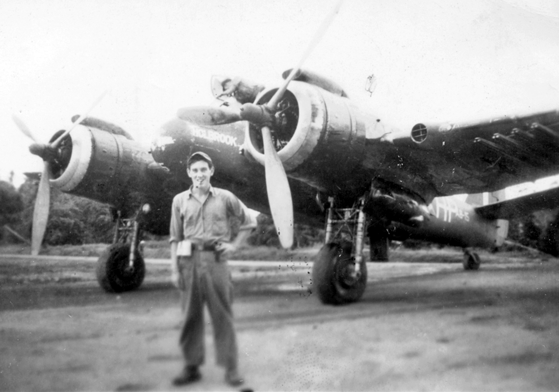 "Beaufighter A8-15 (""Holbrook"") of No. 31 Sqn. The cigar-chomping kid is the source of these photos; Dan Esterly, my next door neighbor."