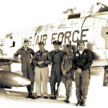417th FBS boss Chuck Yeager and pals with Yeager's bird, 1430.
