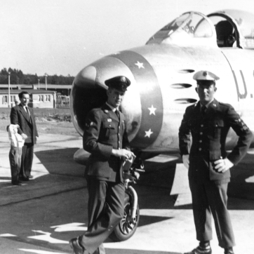 Air Policeman makes sure no one walks out the gate with a brand-new F-86.