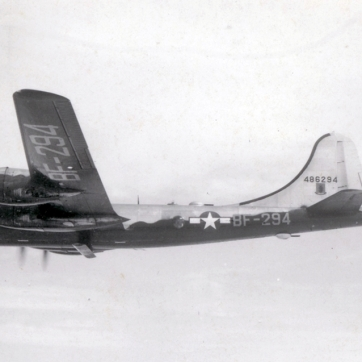 44-86294 of the 28th Bomb Wing. The unusual device on the belly is the antenna for the AN/APQ-7 radar.