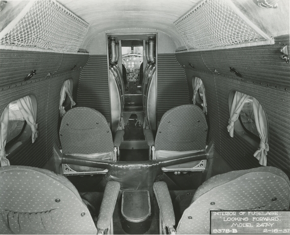 The two forward rows of seats were removed to allow the installation of additional fuel tanks.