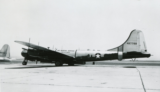 44-87768 was an SB-29 of the 3rd Rescue Squadron. The tail of SB-17G 44-83719 of Hamilton AFB's 2154th Rescue Squadron is visible to the left.