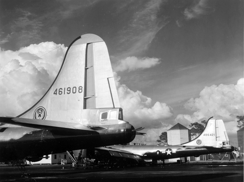 44-61908 and 44-86421 of the 307th Bomb Wing, MacDill AFB. The latter aircraft was lost in a mid-air collision in 1952.
