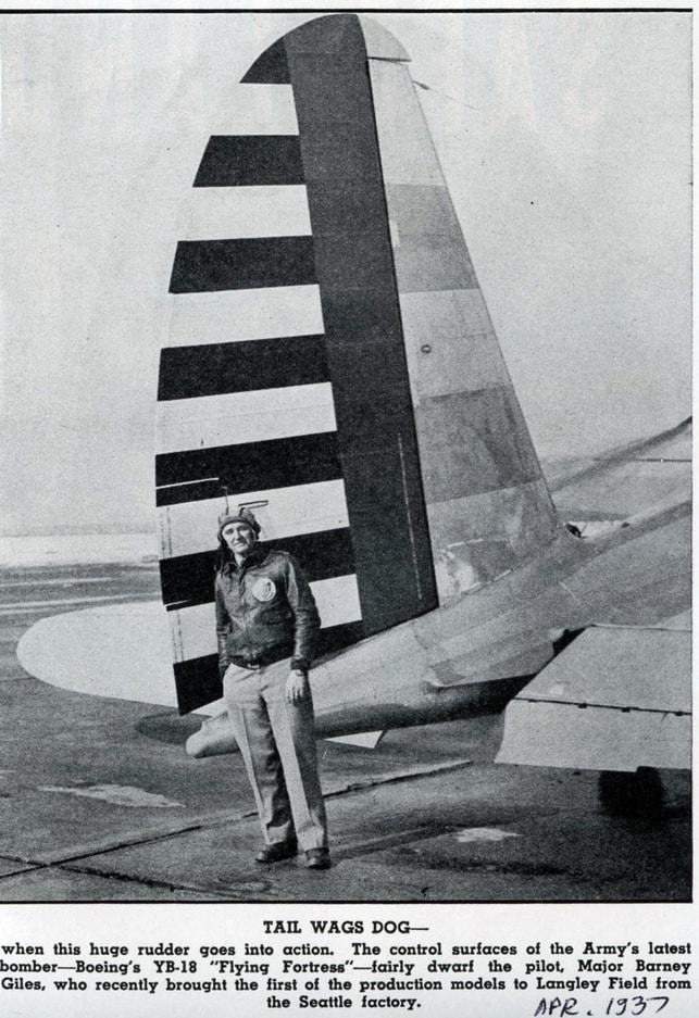 Note that the aircraft is labeled the YB-18 - oops.