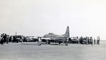 This P-80A (44-85031) was, in all probability, the first jet aircraft that many in this crowd had ever seen.