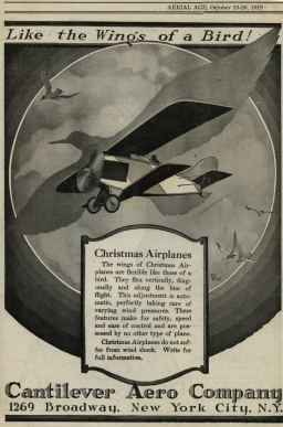 "Considered by many as one of the worst aircraft designs of all time, the ""strut-less, wings like a bird"" Christmas Bullet had (surprise!) an annoying habit of shedding those unsupported wings immediately after takeoff. Two were built, both lost their visible means of support. Note: Dr. William Christmas designed the aircraft with an idea in mind that it could be used to fly over to Germany and kidnap Kaiser Wilhelm II during WW1. No, I did not make that up."
