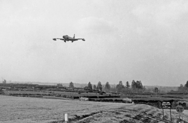 F-80 of the 35th FIW glides in on short final.