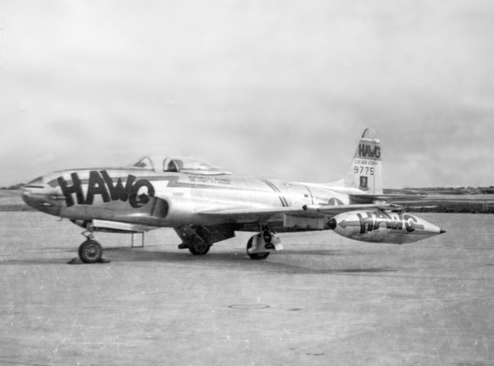 """Hawg"" was name given to 49-775 of the 35th FIW."