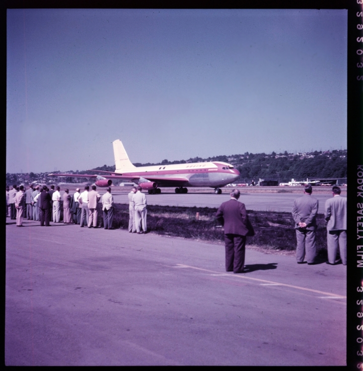 Very early shot of the 367-80 at Boeing Field in 1954. Not the first flight, but early enough to garner a crowd of Boeing employees.