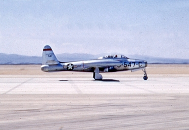 F-84E of the 158th Fighter Bomber Squadron which was assigned to George during the Korean War.