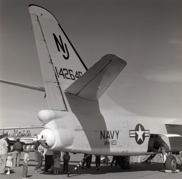 A3D-2 of VAH-123 at an NAS Whidbey Island airshow in the early 1960s. In the background, RCAF men enjoy the show from the top of their CF-100.
