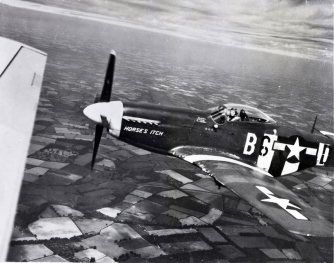"""""""Horses Itch"""" was piloted by Major Ed Hiro. Both he and the aircraft were lost on 19 September, 1944."""