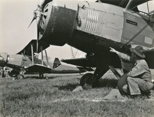 The squadron was new when these photos were taken in 1939, but the aircraft were hand-me-down O-38s. Here, they certainly show their age. This plane, 34-12, was wrecked in 1941.
