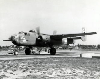 """Dog Daize"" was name given to this B-25H (43-4381) of the 12th Bomb Group, 82nd Bomb Squadron."