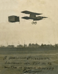 An autographed photo from Farman signed to aviation enthusiast, William J. Hammer.