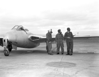 Same pilots, different aircraft. This Vampire and its pilots were assigned (I believe) to No. 16 Squadron.